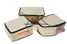 3 x Clear Clothes Garment Saree Cover Storage Bags Wardrobe Organiser Beige