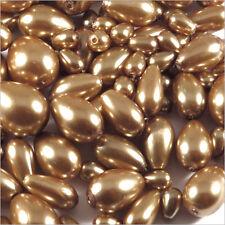 Lot de perles Nacrées Gouttes en verre 7-15mm Mix Brun-Beige 100g