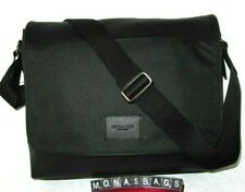 Coach Men's Black Nylon & Leather Messenger Laptop Bag Briefcase F38741 NWT $398
