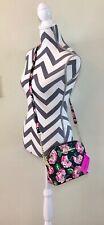 BETSEY JOHNSON Crossbody Handbag Black Multi Floral Pink Gold Chain Purse NWT
