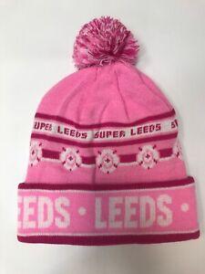 Leeds United Style Pink Beanie Hat with PomPom Brand New MOT LUFC