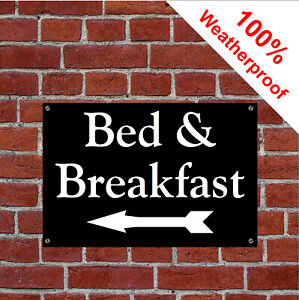 B&B sign with left facing arrow sign Hotel Guesthouse Bed and Breakfast 1976WBK