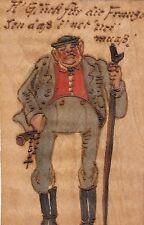 Mann in Lederhose, handgemalte Holzbrandkarte auf echtem Holz, um 1910