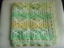 "WHITE, LEMON+GREEN HAND KNIT CROCHET BLANKWT 28"" X 28"""