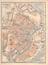 Danzig farbig um 1900 historische alte Landkarte Stadtplan map