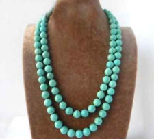 10mm Round Turquoise Stone Gemstone Necklace Woman 90cm/36inch