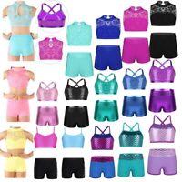 Girl Sport Dance Leotard Crop Top+Shorts Outfit Gymnastics Dancewear Fitness Set