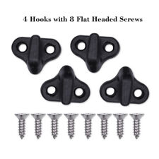 4x Black Nylon Double Hole Lashing Hooks / Bungee Kit for Kayak Canoe Boat New