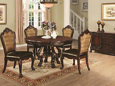 MANUEL - 5 pieces Traditional Cherry Brown Round Dining Room Table Chairs Set