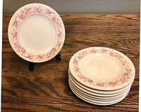 Mayer China MARILYN Red Floral SALAD Plate Set of 8 - Vintage Restaurant Ware
