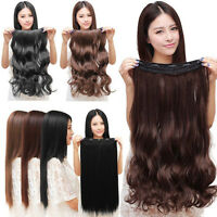 Natural 3/4 Full Head Clip In Hair Extensions Curly Wavy Straight Hair forWomen