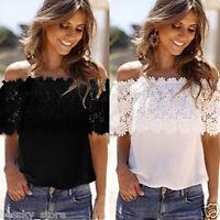 Sexy Womens Summer Lace Crochet Chiffon Shirt Off Shoulder Casual Tops Blouse