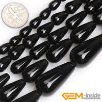 Natural Black Agate Onyx Gemstone Teardrop Beads For Jewelry Making Strand 15""