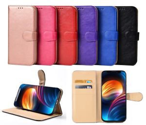For Apple iPhone X XR 11 12 13 Pro Max Leather Book Wallet Flip Case Stand Cover
