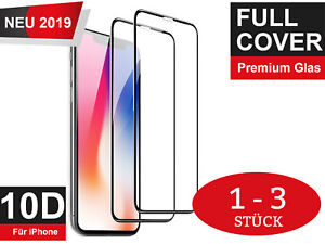 10D Panzerfolie Echt Glas iPhone X XS Max XR 9H 3D Full Cover Display Schutzglas