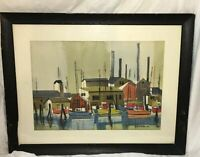 Original Watercolor Painting by William F Stone J.R, Harbor Boat Scene, Fine Art