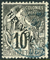Reunion 1891 French Colony 10¢ Black SG #21 VFU N913