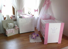 Krone Rosa komplett Set Babybett Kinderbett  Wickelkommode Babyzimmer Baby Bett
