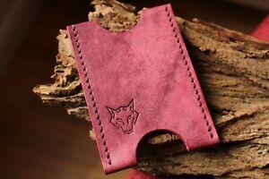 Card Holder - Handmade With Italian Leather - Colour: Dark Pink