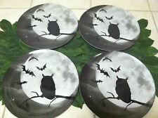 New Set of 4 Owl Halloween Moon Spooky Plastic Dinner Plates
