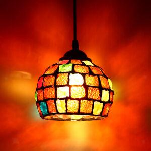 Abat-jour Lampe Suspendu Mosaïque Cage en Verre Lustre Décoration Maison E27