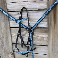 4PC Endurance Teal Blu Camo Beta Biothane Tack Set Headstall Combo Breast Collar