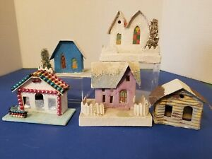 5 VTG SPARKLY CARDBOARD CHRISTMAS HOUSES ASSORTED SIZES