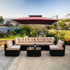 7 PCS Outdoor Patio Garden Furniture Sectional Rattan Sofa Set with Table Beige