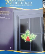 """Lighted Holly Christmas Window Silhouette Christmas Wall Decoration20"""""""