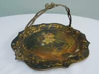 Antique Papier Mache Basket Victorian Painted Swing Handle Gilt Metal Cake c1860