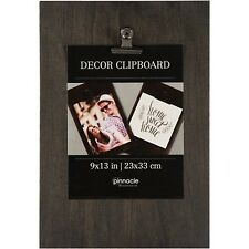 Pinnacle Decor Wall Clip Board Set Wood and Metal Black 9x13 inch Post It Paper