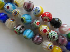 "10mm Hand Blown Millefiori Glass Round Beads Approx 14"" String Approx 36 Beads"