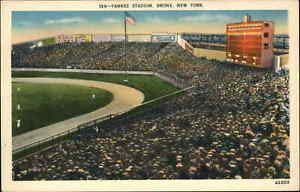 New York NY Yankees Baseball Game Stadium Bronx Linen Postcard