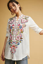 NWT Anthropologie Vanna Embroidered Tunic, by Isato - White, size XS