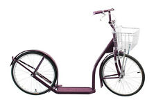"20"" Adult PLUM SCOOTER Genuine Amish Kick Bike w/ Basket & Brakes MADE in USA"