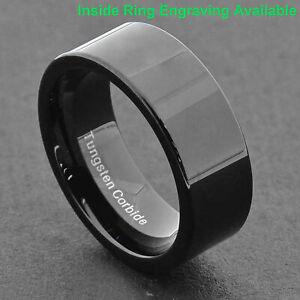8mm Black Tungsten Flat Top High Polish Band Men's Jewelry Wedding Ring