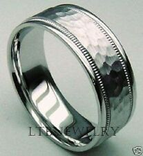 10K WHITE GOLD MENS WEDDING BAND RING HAMMERED 7MM