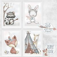 4 x Kinderzimmer Babyzimmer Bilder Set Wald Tiere Fuchs Bild | DIN A 4 | S 32
