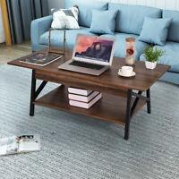 Modern Wood Chrome Glass Coffee Table with Shelf Storage Living Room Furniture