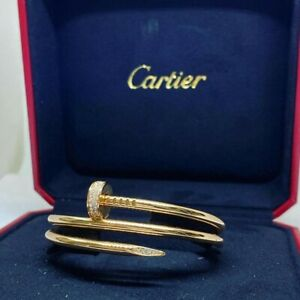 Cartier Juste un Clou bracelet double row 18K pink rose gold w Diamonds Size 15