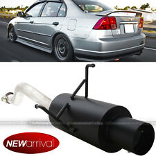 Fit 01-05 Civic 2/4 DR Stainless Bolt On Axle Back Exhaust Black Muffler & Tip