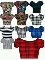 Womens Ladies Printed Ladies Short Cap Sleeve Cropped Belly Crop Top Uk Size8-14