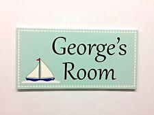 Boat Personalised Door Name Plaque Boys Bedroom Room Sign Kids Children Girl (B)