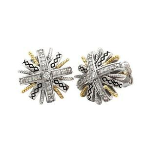 Andrea Candela 18k Gold Sterling Diamond Sunflower Cable Stud Earrings ACE362/18