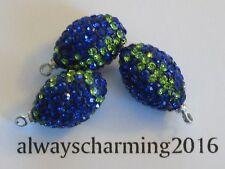 """1 SEATTLE SEAHAWK INSPIRE 3/4"""" RHINESTONE PAVE BEAD FOOTBALL FOR SPARKLE JEWELRY"""