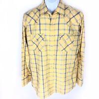 Ely Cattleman Plaid Pearl Snap Shirt Yellow Blue M Medium Short Sleeve Mens
