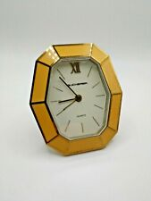 Bucherer Stand-up Desk Clock with Yellow and Gold Frame
