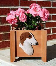 Borzoi Planter Flower Pot Red