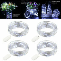 4 x 20LED Cool White Fairy String Lights Copper Wire Battery Operated Xmas Decor