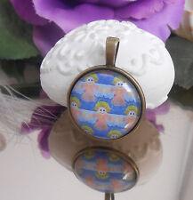 Engel - Schutzengel Ketten Anhänger Glas Cabochon - Amulett bronce antikgold